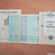 Documentos bancarios: LOTE DE BOLETINES DE INFORMACIÓN BURSATIL ANTIGUOS DEL BCO BILBAO Y DEL BCO VIZCAYA.. Lote 270112008
