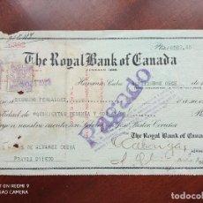 Documentos bancarios: THE ROYAL BANK OF CANADA HABANA 1923 - PAGARÉ. Lote 270966993