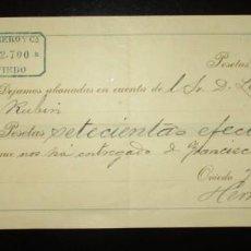 Documentos bancarios: BANCO HERRERO DE OVIEDO. RECIBO DE ABONO DEL AÑO 1893.. Lote 275562753