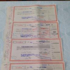 Documentos bancarios: LOTE DE 4 DOCUMENTOS LETRAS MAQUINA DE COSER SIGMA. AÑOS 70. VER FOTOS.. Lote 275649328