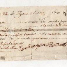 Documentos bancários: LETRA DE CAMBIO. LEQUEITIO, BIZKAIA. AÑO 1822. Lote 275681078