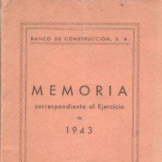Documents bancaires: BANCO DE CONSTRUCCION, S.A., MEMORIA EJERCICIO DE 1963, MADRID. Lote 276353273
