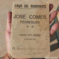 Documents bancaires: ANTIGUA CARTILLA DE AHORROS , CAJA DE AHORROS JOSE COMES , PEDREGUER , 1937. Lote 276702188