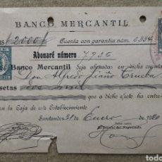 Documents bancaires: ANTIGUO DOCUMENTO BANCARIO BANCO MERCANTIL 2000 PESETAS SANTANDER (CANTABRIA) AÑO 1920. Lote 276807743