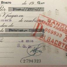 Documentos bancarios: LETRA DE CAMBIO. CLASE 14. 1961. BANCO HISPANO AMERICANO ALBACETE.- FUENSANTA. Lote 277635638