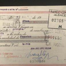 Documentos bancarios: LETRA DE CAMBIO. CLASE 12. 1961. BANCO CENTRAL ALBACETE.- FUENSANTA LA RODA. Lote 277637708