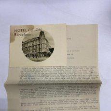 Documenti bancari: CIRCULAR HOTEL COLON BARCELONA, 1928 Y PUBLICIDAD CON IMAGENES DEL HOTEL COLON. VER FOTOS. Lote 278173218