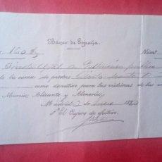 Documents bancaires: BANCO DE ESPAÑA.-DONATIVO VICTIMAS INUNDACIONES.-MURCIA.-ALICANTE.-ALMERIA.-DOCUMENTO.-AÑO 1880.. Lote 278362123
