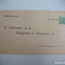 Documentos bancarios: SOBRE CERTIFICADO SR INTERVENTOR DE LA DELEGACION DE HACIENDA (&). Lote 278420478
