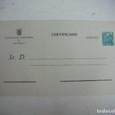 Documentos bancarios: SOBRE CERTIFICADO DEPOSITARIO PAGADURIA DE HACIENDA (&). Lote 278420583
