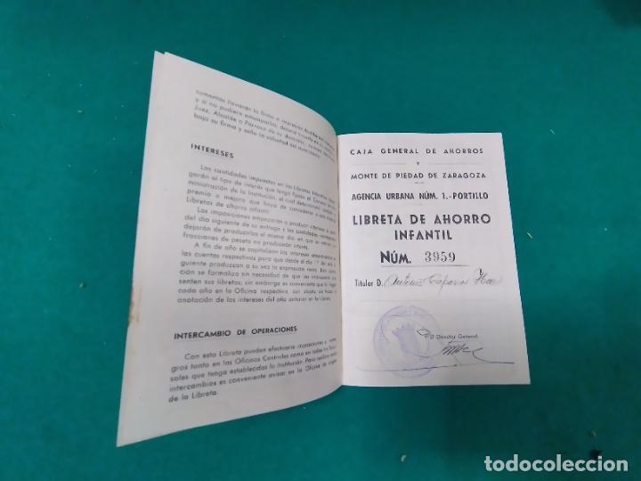 Documentos bancarios: LIBRETA DE AHORRO INFANTIL Nº 3959. CAJA GENERAL DE AHORROS Y MONTE DE PIEDAD DE ZARAGOZA. 1944. - Foto 2 - 278457733
