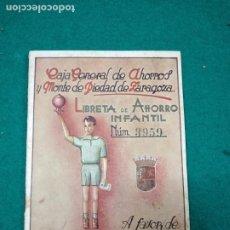 Documentos bancarios: LIBRETA DE AHORRO INFANTIL Nº 3959. CAJA GENERAL DE AHORROS Y MONTE DE PIEDAD DE ZARAGOZA. 1944.. Lote 278457733