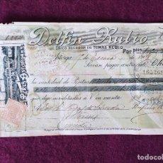 Documentos bancarios: 1909, ANTIGUO CHEQUE, DELFÍN RUBIO, LA PERLA ASTORGANA, BONITO MEMBRETE, UNOS 21 X 11 CMS.. Lote 280702798