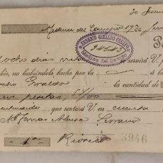 Documenti bancari: LETRA DE CAMBIO EUSEBIO GIRALDO CERESPO. MEDINA DEL CAMPO. VALLADOLID. 1905.. Lote 283864983