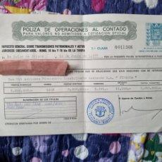 Documentos bancarios: PÓLIZA DE OPERACIONES AL CONTADO BILBAO.. Lote 287214343