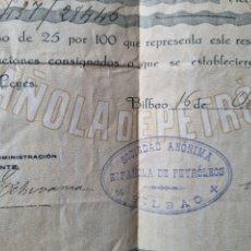 Documentos bancarios: SOCIEDAD ESPAÑOLA DE PETRÓLEOS. BILBAO. Lote 287223413