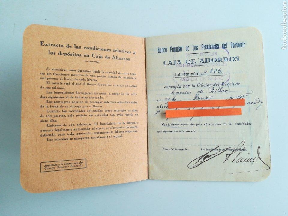 Documentos bancarios: LIBRETA CAJA DE AHORROS. BANCO POPULAR DE LOS PREVISORES DEL PORVENIR. AÑO 1935 - Foto 2 - 288339628