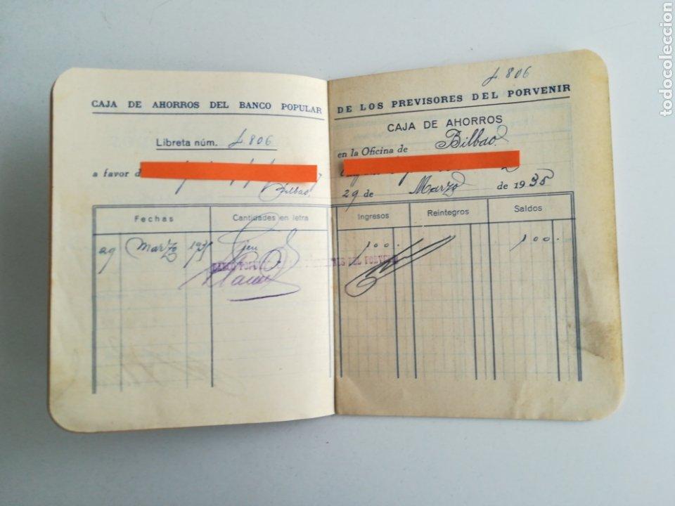 Documentos bancarios: LIBRETA CAJA DE AHORROS. BANCO POPULAR DE LOS PREVISORES DEL PORVENIR. AÑO 1935 - Foto 3 - 288339628