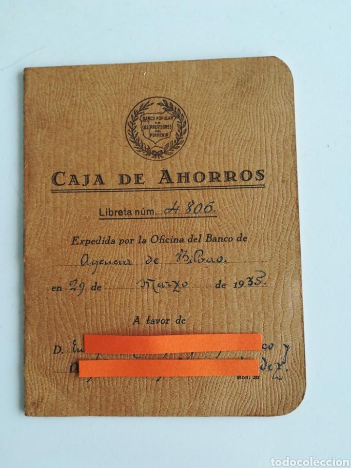 LIBRETA CAJA DE AHORROS. BANCO POPULAR DE LOS PREVISORES DEL PORVENIR. AÑO 1935 (Coleccionismo - Documentos - Documentos Bancarios)
