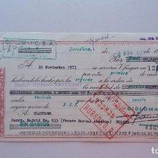 Documentos bancarios: LETRA DE CAMBIO BURGOS BARCELONA CLAUCAMA CICLOMATIC 1973 BANCO HISPANO AMERICANO. Lote 293797213