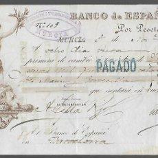Documentos bancarios: MURCIA,- PAGARES- BANCO DE ESPAÑA. AÑO 1890. VER FOTOS. Lote 294961028