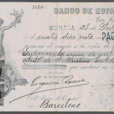 Documentos bancarios: MURCIA,- PAGARES- 3 SELLOS IMPUESTO DE GUERRA, BANCO DE ESPAÑA. AÑO 1898. VER FOTOS. Lote 294961163