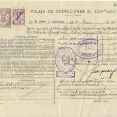 Documentos bancarios: PÓLIZA DE OPERACIONES AL CONTADO. BOLSA DE BARCELONA. 1936. CLASE 8ª. CON SELLO.. Lote 295286148