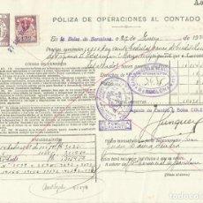 Documentos bancarios: PÓLIZA DE OPERACIONES AL CONTADO. BOLSA DE BARCELONA. 1936. CLASE 7ª. CON SELLO.. Lote 295286258