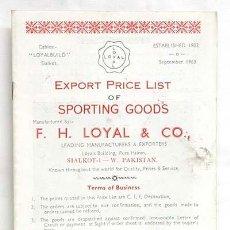 Coleccionismo deportivo: CATALOGO INGLES ARTÍCULOS DEPORTIVOS FH LOYAL & CO 1963. Lote 3335887