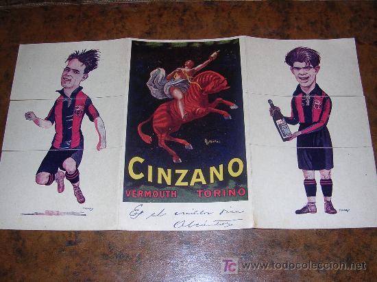 CINZANO VERMOUTH TORINO ( TRIPTICO F.C.BARCELONA ) SAMITIER - PIERA - ALCANTARA (Coleccionismo Deportivo - Documentos de Deportes - Otros)