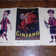 Coleccionismo deportivo: CINZANO VERMOUTH TORINO ( TRIPTICO F.C.BARCELONA ) SAMITIER - PIERA - ALCANTARA. Lote 20119822