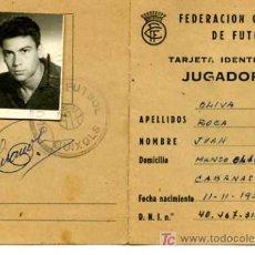 Coleccionismo deportivo: TARJETA DE IDENTIDAD DE JUGADOR, FEDERACION CATALANA DE FUTBOL, TEMPORADA 1961-1962. Lote 5170981