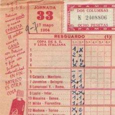 Coleccionismo deportivo: QUINIELA 1964. Lote 26034145