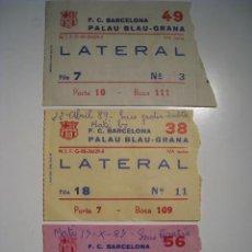 Coleccionismo deportivo: FC BARCELONA: SECCION HOCKEY PATINES - LOTE 3 ENTRADAS 1987 - 1989. Lote 8278822