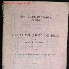 Coleccionismo deportivo: REGLAS DEL JUEGO DE TENIS Y CASOS Y DECISIONES. 1967.. Lote 2185074
