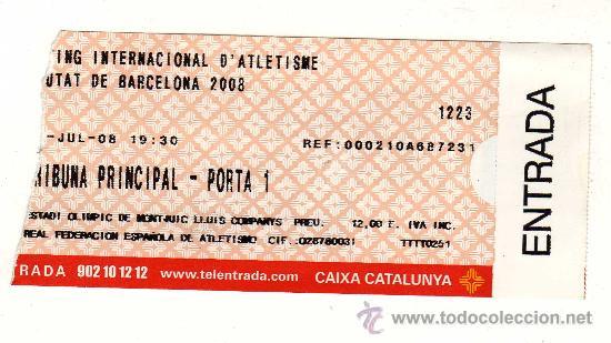 ENTRADA USADA DEL MEETING INTERNACIONAL D'ATLETISME CIUTAT DE BARCELONA 2008 (Coleccionismo Deportivo - Documentos de Deportes - Otros)
