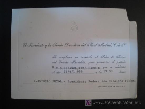 Tarjeta Invitacion Palco Real Madrid Rcd Espa Vendido En