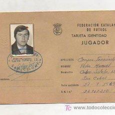 Coleccionismo deportivo: FEDERACIÓN CATALANA DE FUTBOL. TARJETA DE IDENTIDAD DE JUGADOR. CLUB P B ALFONSEDA. 1973. . Lote 12068232