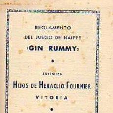 Coleccionismo deportivo: REGLAMENTO DEL JUEGO DE NAIPES-GIN RUMMY- DE HIJOS DE HERACLIO FOURNIER-VITORIA 1950. Lote 20605777