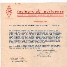 Coleccionismo deportivo: RACING CLUB PORTUENSE. SOCIEDAD TIRO PICHON. FIRMA JOSE DEL CUBILLO. Lote 22671176