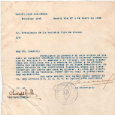 Coleccionismo deportivo: RACING CLUB PORTUENSE. SOCIEDAD TIRO PICHON. FIRMA JOSE DEL CUBILLO. 1936. Lote 16422812