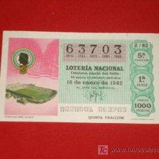 Coleccionismo deportivo: LOTERIA NACIONAL AÑO 1982, ESTADIO FUTBOL RICO PEREZ . ALICANTE.. Lote 14338442