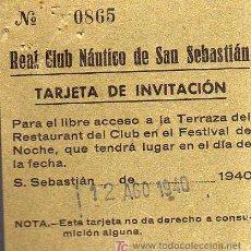 Coleccionismo deportivo: TARJETA DE INVITACIÓN - REAL CLUB NAUTICO DE SAN SEBASTIAN - AÑO 1940. Lote 14455535