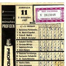 Coleccionismo deportivo: +-+ Q08 - RESGUARDO DE QUINIELA - JORNADA 11 - 1967. Lote 16382668
