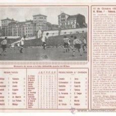 Coleccionismo deportivo: FICHA IMPRESA DEL PARTIDO ATHLETIC DE BILBAO 7 VALENCIA 0, 10-10-1954, ESTADIO SAN MAMES ARIETA. Lote 16540829