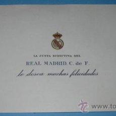 Coleccionismo deportivo: ANTIGUA TARJETA DE FELICITACION DEL REAL MADRID - ESCUDO EN RELIEVE - EN - . Lote 16738226