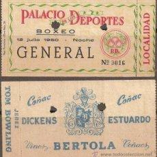 Coleccionismo deportivo: 0230 - LOCALIDAD DE BOXEO - PALACIO DE LOS DEPORTES - 12 -7- 1950- CON PUBLICIDAD. Lote 27034771