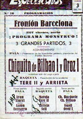 PROGRAMACION FROTON BARCELONA SEPTIEMBRE 1941 (Coleccionismo Deportivo - Documentos de Deportes - Otros)