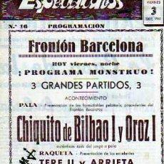Coleccionismo deportivo: PROGRAMACION FROTON BARCELONA SEPTIEMBRE 1941. Lote 20093364