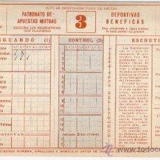 Coleccionismo deportivo: BOLETO QUINIELA 1961, JORNADA 3, (17/IX/1961), ENVÍO GRATIS. Lote 20342880